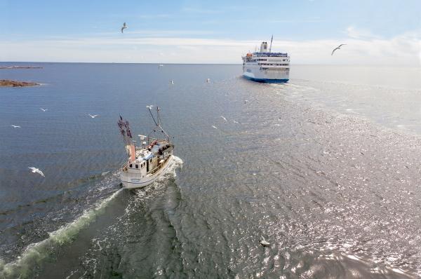 Mindre fiskebåt och stor färja på solbelyst hav. Foto: Mostphotos