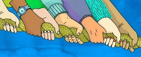 Illustration: Många som hjälps åt! Händer som drar i ett rep.