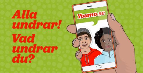 Illustration: Hand som håller en mobil som visar youmo.se med texten: Alla undra! Vad undrar du?