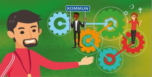 Illustration från vägledningen Knäck koden. Tre personer illustrerar i dialog symboliserar kommunens och civilsamhällets samverkan. I bakgrunden fem kugghjul som är sammanlänkade.