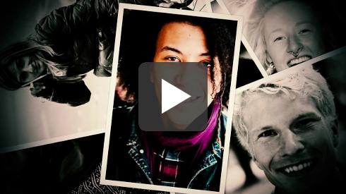 Startbilden i filmen som visar ett kollage av människor med olika utseende