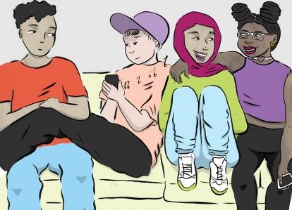 Illustration av fyra ungdomar i en soffa