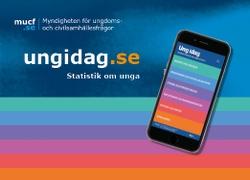 Sajten ungidag.se, med sitt regnb�gsf�rgade utseende, visas p� en mobilsk�rm.