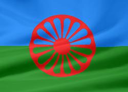 romska flaggan i blått, grönt och rött