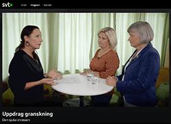 """Film där MUCF:s generaldirektör Lena Nyberg och Cissi Elwin från tidningen Chef intervjuas av Karin Mattisson, programledare för Uppdrag Granskning i programmet """"Den sjuka stressen"""""""