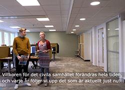 Foto på Petter och Eva som medverkar i film om civilsamhällets villkor