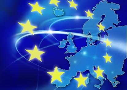 Bild p� Europakarta med EU:s stj�rnlogga Foto Vasil Vasilev