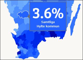 Sk�rmdump fr�n ungidag.se, en Sverigekarta d�r alla kommuner har en egen bl� nyans. En kommun �r markerad och data som g�ller den kommunen visas i en stor bl� ruta.