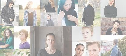 Bild på unga personer i ett collage av bilder