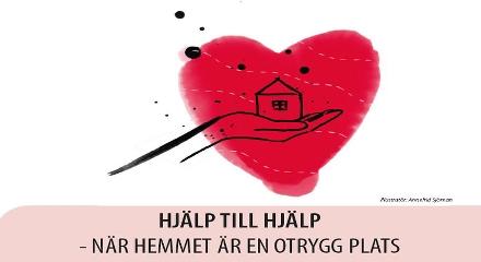 Omslagsbild hjälp till hjälp. Illustration av en hand som håller ett hjärta med ett hus inuti.