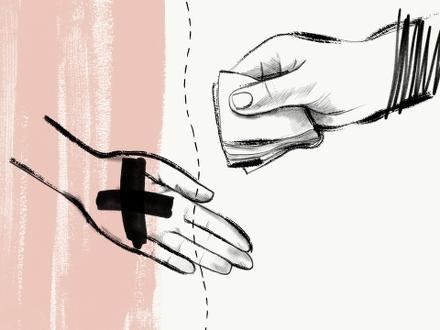 Illustration av hand med pengar och överkryssad hand