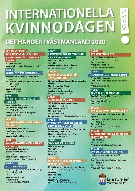 Affisch med vad som händer i Västmanland kopplat till internationella kvinnodagen 2020