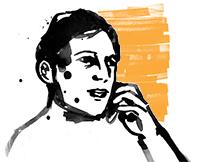 """Teckning av en man som ringer ett samtal """"Anmälan till socialen""""."""