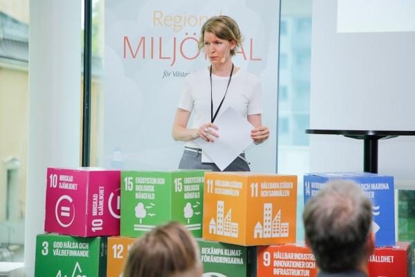 Elisabet Ebeling från Länsstyrelsen berättade om miljömålsarbetet och nuläget av åtgärdsprogrammet.