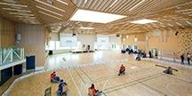 The multi-purpose sports hall. Photo