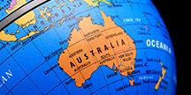 Australia on a globe. Photo