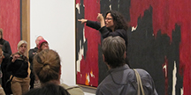 Debra Cole leads a tour in sign language at Metropolitan Museum. Photo