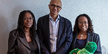 Microsoft CEO Satya Nadella with Zyrobotics CEO, Dr. Johnetta MacCalla and CTO, Dr. Ayanna Howard. Photo
