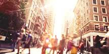 A crowded street corner. Photo