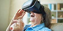An elderly person with virtual glasses. Photo