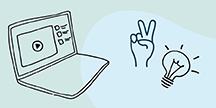 Illustrasjon av en bærbar datamaskin, en hånd som gjør V-tegn og en glødelampe