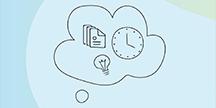 Illustrasjon av dokumenter, en klokke og en glødelampe