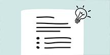 Illustrasjon av et tekstdokument og en glødelampe