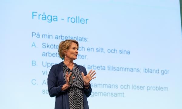 Anna Klarare framför projektorduken