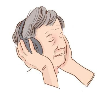 Illustration av kvinna med hörlurar