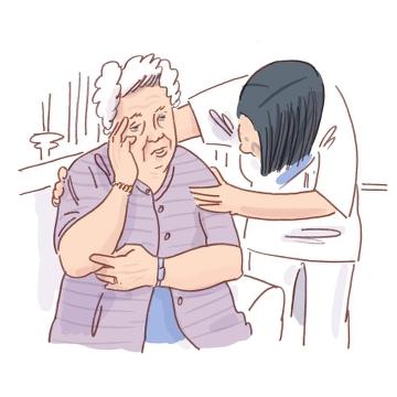 Illustration av vårdare som stöttar kvinna