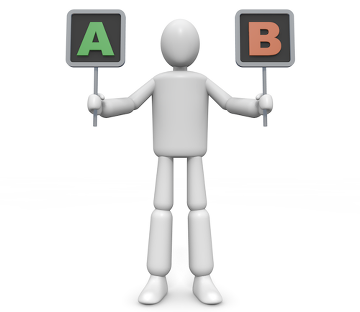 """Figur med skyltarna """"A"""" och """"B"""""""