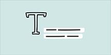 Illustration av bokstaven T samt två textrader
