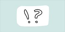 Ett utropstecken och ett frågetecken. Illustration