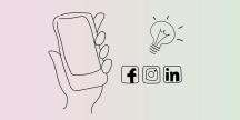 En smartphone, ikoner från sociala media och en glödlampa. Illustration