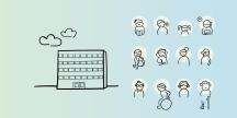 En skola och elever. Illustration