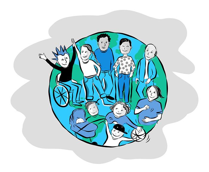 Illustration som visar ett antal personer med olika sorters funktionsneds�ttningar p� en liten jordglob. Illustration: Karin Gr�nberg.