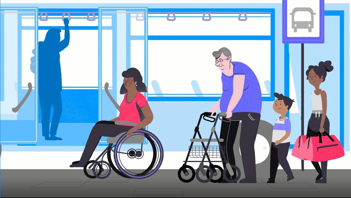Ilustration av kvinna i rullstol och man med rullator utanför buss. Stillbild ur MFD:s film om universell utformning.