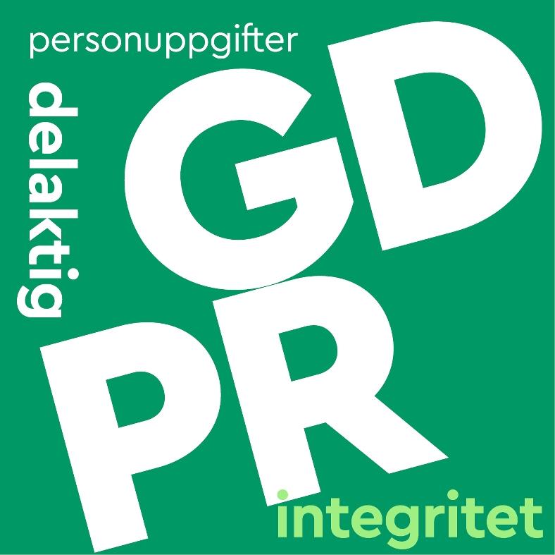 Ruta med texterna GDPR, personuppgifter, delaktig, integritet.