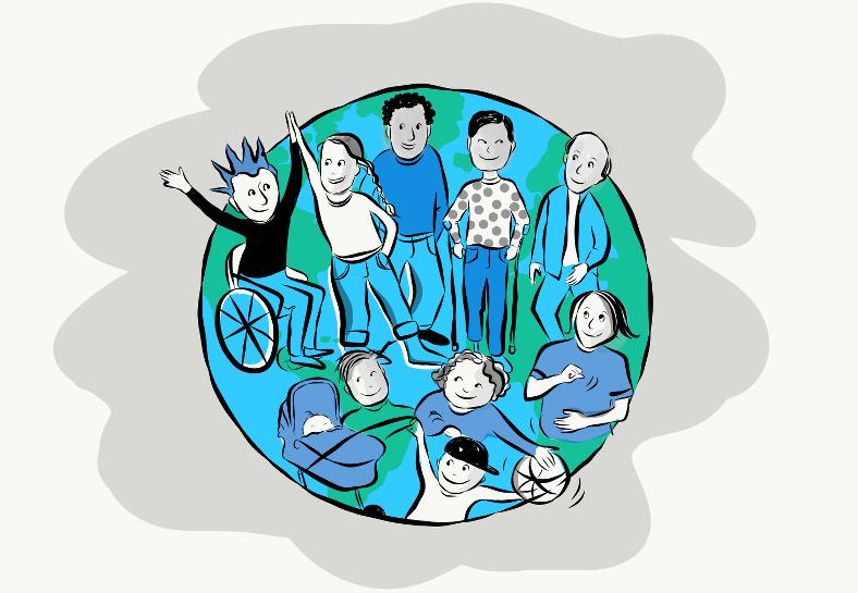 Illustration av nio människor på en jordglob. Illustratör: Karin Grönberg