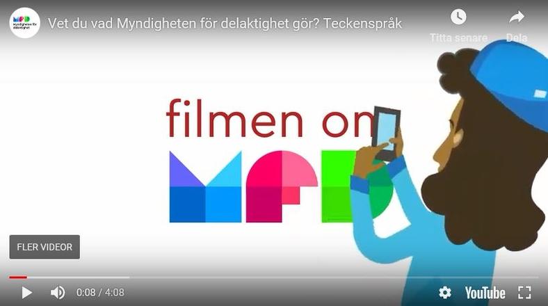 """Första scenen i den animerade filmen om vad MFD gör. Flicka tar en bild med sin mobiltelefon av en skylt där det står """"Filmen om MFD""""."""
