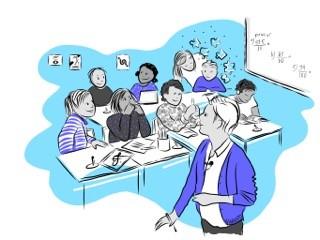 Tecknad bild av lärare framför liten skolklass. Illustration: Karin Grönberg