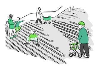 Illustration av ramp som leder uppför trappavsats, som exempel på universell utformning. Illustration: Karin Grönberg