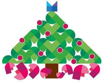 En samlin M, F och D:n från MFD:s logotyp har fogats ihop till en stiliserad julgran.