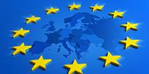 EU map with yellow stars. Illustration